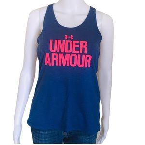 UNDER ARMOUR Racerback Tank/Top Navy/Neon Sz Small